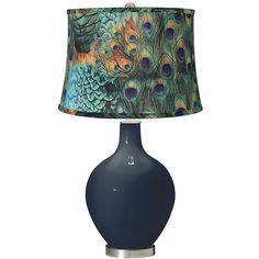 Naval Peacock Print Shade Ovo Table Lamp (175 CAD) ❤ liked on Polyvore featuring home, lighting, table lamps, blue, blue glass lamp base, glass table lamps, drum lamp-shade, glass lamp base and blue glass lamp