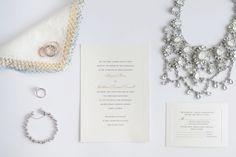 Wedding Jewelry and Invitation. Check out more pinnable images at www.sarahben.com