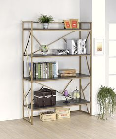 Look at this Furniture of America Champagne Metal Bookshelf on #zulily today!