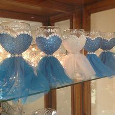 Bridal Party Wine glasses by Ericka Hernandez Diy Wine Glasses, Decorated Wine Glasses, Painted Wine Glasses, Bridal Shower Decorations, Wedding Centerpieces, Wedding Decorations, Wine Glass Centerpieces, Wedding Crafts, Diy Wedding