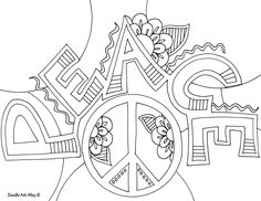 peace adult coloring page