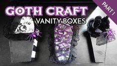 D.I.Y Goth Crafting: Vanity Boxes Part I Diy Arts And Crafts, Fun Crafts, Goth Princess, Goth Baby, Cute Goth, Diy Makeup Vanity, Bedroom Organization Diy, Vanity Box, Goth Makeup