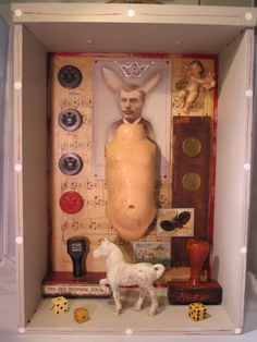 Mixed media assemblage shadow box found object creepy home