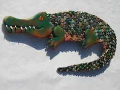 Alligator Bottle Cap Metal Wall Art by EricsEasel on Etsy, $325.00