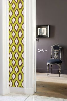 silk pinted non-woven wall covering I ate ochreous. Collection Mariska Meijers, Origin - luxury wallcoverings.