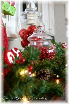 Chic on a Shoestring Decorating: Christmas Vignette #1 Red & White