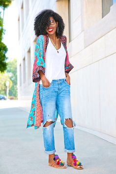 50 Trendy Outfits To Look Feminine And Elegant This Summer Moda Outfits, Trendy Outfits, Summer Outfits, Cute Outfits, Fashion Outfits, Fashion Trends, Outfits With Kimonos, Jean Outfits, Black Fashion Bloggers