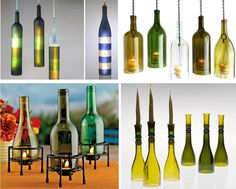 DIY Recycled Bottle Candle Fixtures-this I love for summer entertaining!