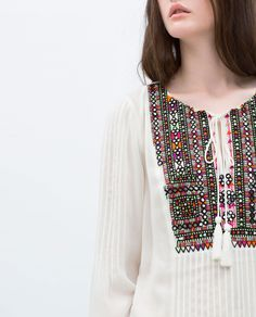 EMBROIDERED TUNIC - View all - Tops - WOMAN | ZARA United Arab Emirates Pakistani Fashion Casual, Pakistani Dresses Casual, Pakistani Dress Design, Hand Embroidery Dress, Kurti Embroidery Design, Embroidery Fashion, Stylish Dresses, Simple Dresses, Casual Dresses