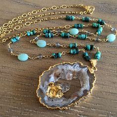 Geode Slice Necklace // Gold Edged Raw Crystal by LostWithoutColor