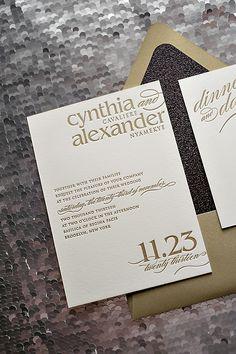 black tie wedding invitations, black and gold, glitter wedding invitations
