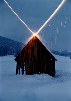 Roman Signer House with rockets