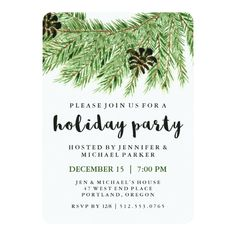 This stylish holiday party invitation features a green watercolor pine wreath with pine cones, and modern typography. We have used art from LABFcreations. Winter Christmas, Christmas Themes, Christmas Cards, Green Christmas, Xmas, Elephant Party, Christmas Party Invitations, Green Watercolor, Custom Invitations