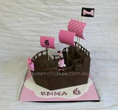 Minnie Mouse Pirate Ship Cake