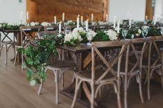 Harvest tables and greenery.