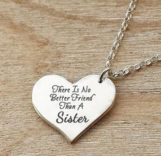Best friend gift personalized heart necklace sister necklace silver personalized sister necklace best friends mozeypictures Image collections
