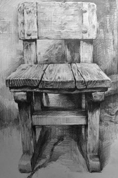 A by on DeviantArt Wood dessin drawing デッサン イス 木 Still Life Sketch, Still Life Drawing, Charcoal Art, Charcoal Drawing, Chair Drawing, Painting & Drawing, Pencil Art Drawings, Art Drawings Sketches, Object Drawing