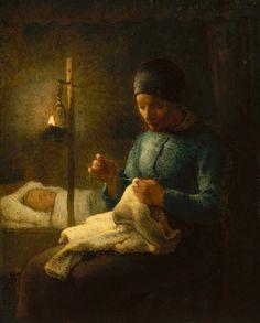 Jean-Francois Millet, Woman Sewing beside her Sleeping Child about 1858–62 on ArtStack #jean-francois-millet #art