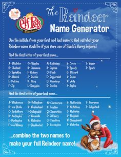 One of the best parts of adopting one of Santa's scout elves or an Elf Pets® Reindeer is getting to name your new family friend. But do your kids ever wonder what name Santa would give them if they were one of his reindeer? See if your little ones can find their reindeer name, and then help them find the reindeer names of all of your family members, too! Read More