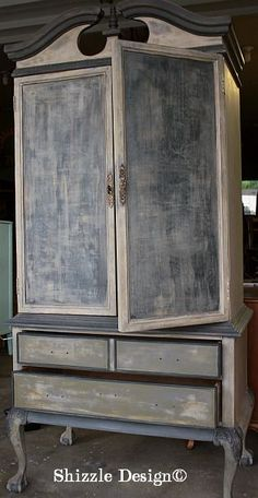 Layering Paint ~ http://shizzle-design.com/2013/06/how-to-create-a-funky-finish-french-country-armoire.html