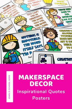 This MakerSpace Decor set contains 15 colored and 15 blackline posters with inspiring STEM, MakerSpace, and Growth Mindset quotes that you can use to encourage your students. These Inspirational MakerSpace Quotes Posters will look great as decoration for your MakerSpace bulletin boards and/or STEM/STEAM/STREAM lab and/or school libraries. Click to learn more. #makerspace