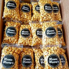 800 bags of popcorn ready to go to for one of our customers, featuring our brand new labels! If you have an event or party and want Mama Moore's Gourmet Popcorn to provide some delicious snacks or favors just visit the contact page on our website (link in our bio) and send us a message!