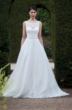 Illusion A-Line Wedding Dress  with Natural Waist in Lace. Bridal Gown Style Number:32965907