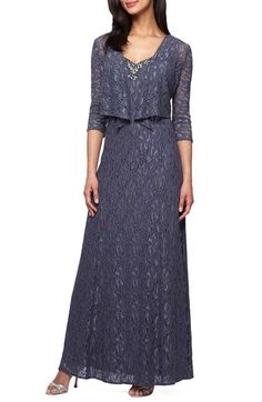 ec8e7991117 Alex Evenings Embellished Lace Gown   Jacket (Petite) available at… Gown  With Jacket