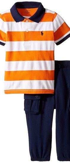 Ralph Lauren Baby Mesh Atlantic Terry Stripe Pants Set (Infant) (White/Bright Signal Orange) Boy's Active Sets - Ralph Lauren Baby, Mesh Atlantic Terry Stripe Pants Set (Infant), 320637755001-800, Apparel Sets Active, Active, Sets, Apparel, Clothes Clothing, Gift, - Street Fashion And Style Ideas