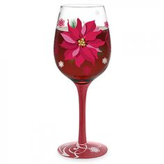 Hand-Painted Poinsettia Wine-Glasses!