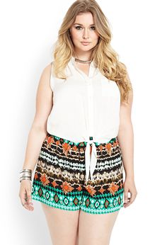 http://fave.co/1iKXh4X Abstract Muse Woven Shorts | FOREVER21 PLUS - 2000124218