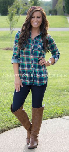 Country In Me Green Plaid Shirt / Southern Sophisticate Boutique