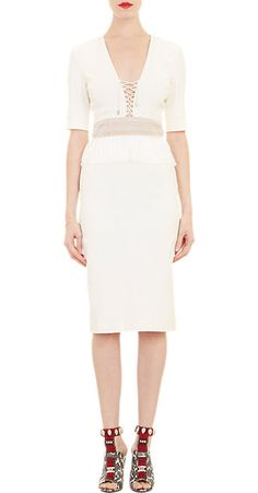 Altuzarra Fringe-Waist Lace-Up Dress