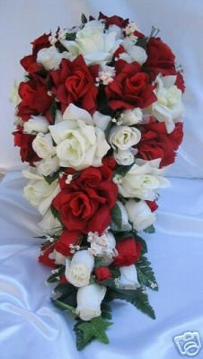 21pc Bridal Bouquet Wedding Flowers Red Ivory Bouquets | eBay