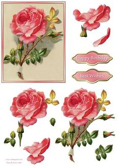 Pink Rose Decoupage on Craftsuprint designed by Russ Smith - Large decoupage topper, greeting banners and decoupage layers, using a vintage painting of a pink rose. - Now available for download!