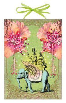 Amazon.com: Papaya Flying Elephant Art Panel Print: Home & Kitchen