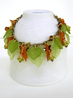 Fall Colors Bracelet Swarovski Crystal Lucite Leaves Handmade | DoubleSJewelry - Jewelry on ArtFire