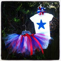 Memorial Day / 4th of July tutu set- outfit-Blue Star top and red white and blue tutu  Baby /Infant/ Toddler/Girls on Etsy, $23.00