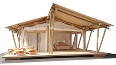 Bamboo Canopy Tent Model - These semi-permanent bamboo tents are especially designed for luxurious tourist locations like resorts, hotels and exclusive nature reserves. The combination of bamboo with canvas offers a fantastic solution for alternative accommodations anywhere in the world. Camping Gazebo, Gazebo Tent, Canopy Outdoor, Canopy Tent, Outdoor Camping, Camping Ideas, Shade Canopy, Camping Glamping, Camping Checklist