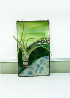 Stained Glass Panel Air Plant Holder  Forest Green by glassetc