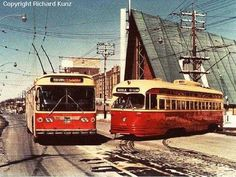 Mount Pleasant and Eglinton: This shot, captured by Richard Kunz of the New Electric Railway Journal, shows the Eglinton Loop in a 1974-75 scene. The streetcar would be gone two years later, and the trolley buses would follow in less than twenty. http://transit.toronto.on.ca/streetcar/4114.shtml