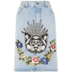 Gucci Denim Skirt With Appliqué ($1,600) ❤ liked on Polyvore featuring skirts, blue, gucci, denim skirt, gucci skirt, knee length denim skirt and blue skirt