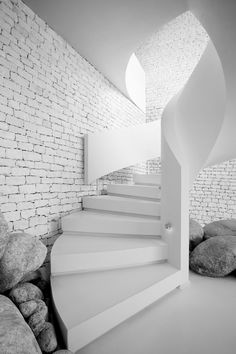 White, Spiral Staircase, White Brick Wall