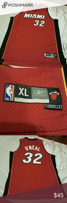 🏀Miami Heat jersey #32🌞 Pre-owned Miami Heat jersey #32 O'NEAL,  original NBA jersey by Reebok. In good condition,  only very small stain in back of jersey, right on the # area. See pic 2. Reebok Shirts