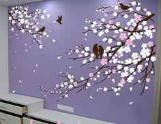 Nursery Wall Decal Wall Sticker Blossoms Tree decal Cherry Blossom Branches with Birds Vinyl wall sticker Floral Nature decals sakura