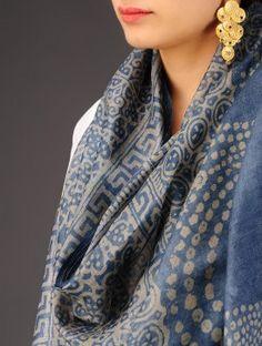 Indigo-Olive Tussar Silk Batik Printed Stole