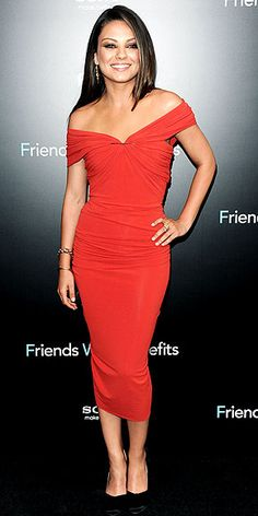Mila is just as gorgeous as this red Lanvin dress--love the Fred Leighton jewels