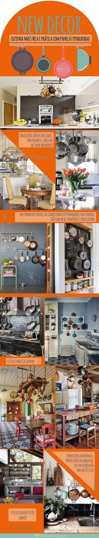 Decor: cozinha mais bela e prática com panelas penduradas - Blog da Mimis #infográfico #blogdamimis #saúde #culinária