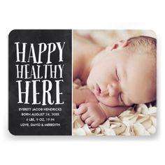 Rustic Chalkboard Photo Birth Announcement