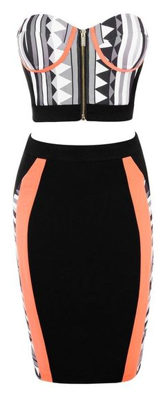 Posh Girl Orange Multi Bodycon Skirt Set